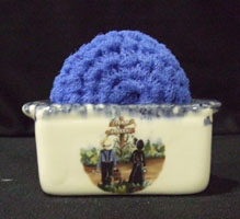 scrubbie, crock, packet holder, amish, ceramic, pottery