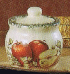 sugar bowl, pottery, apples, ivy, ceramics