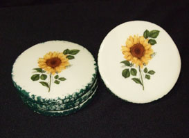 coasters, pottery, sunflower