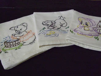 flour sack dish cloth, towel, dishes, custom, embroidered, gift
