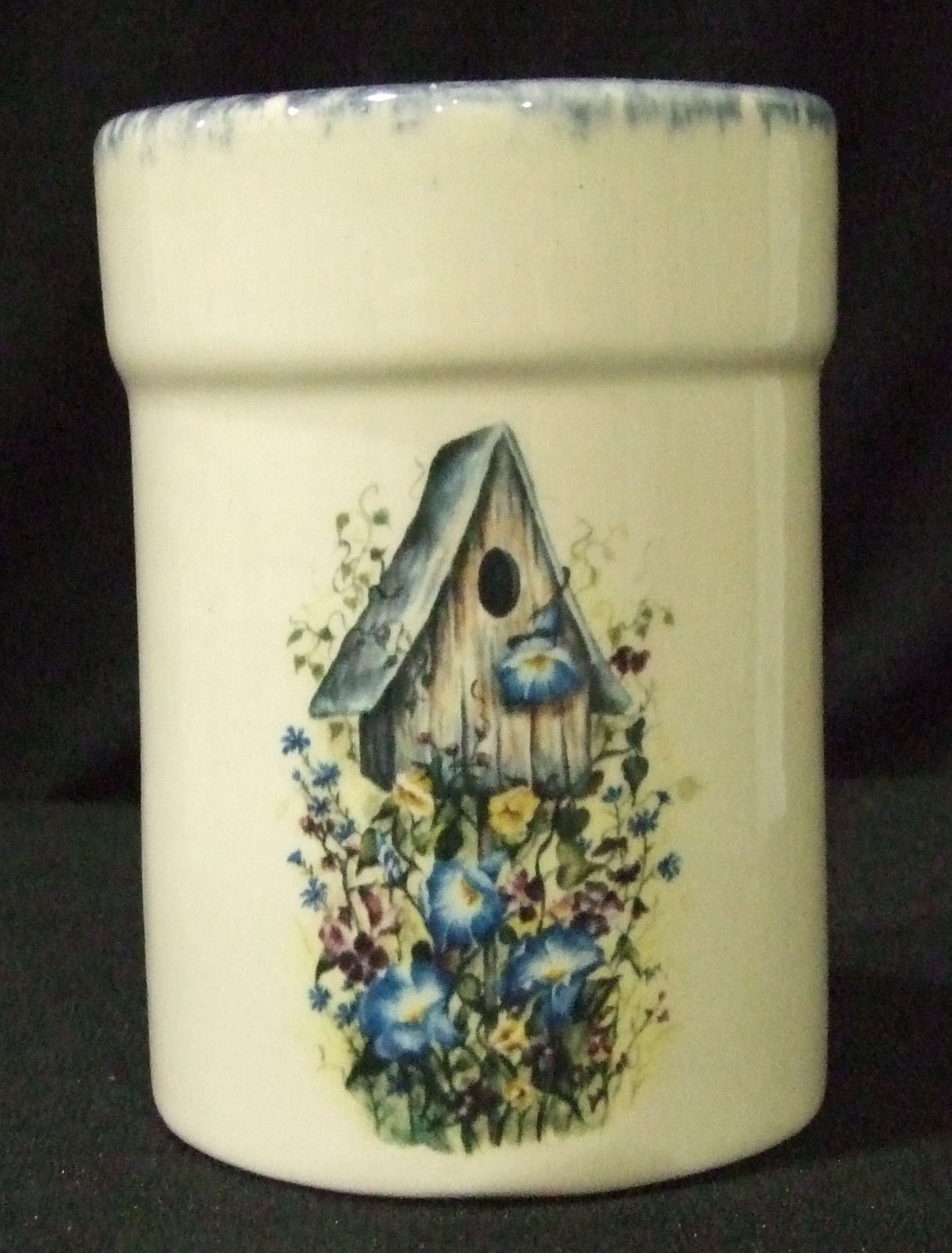 utensil holder, pottery, crock, cerarmics, floral