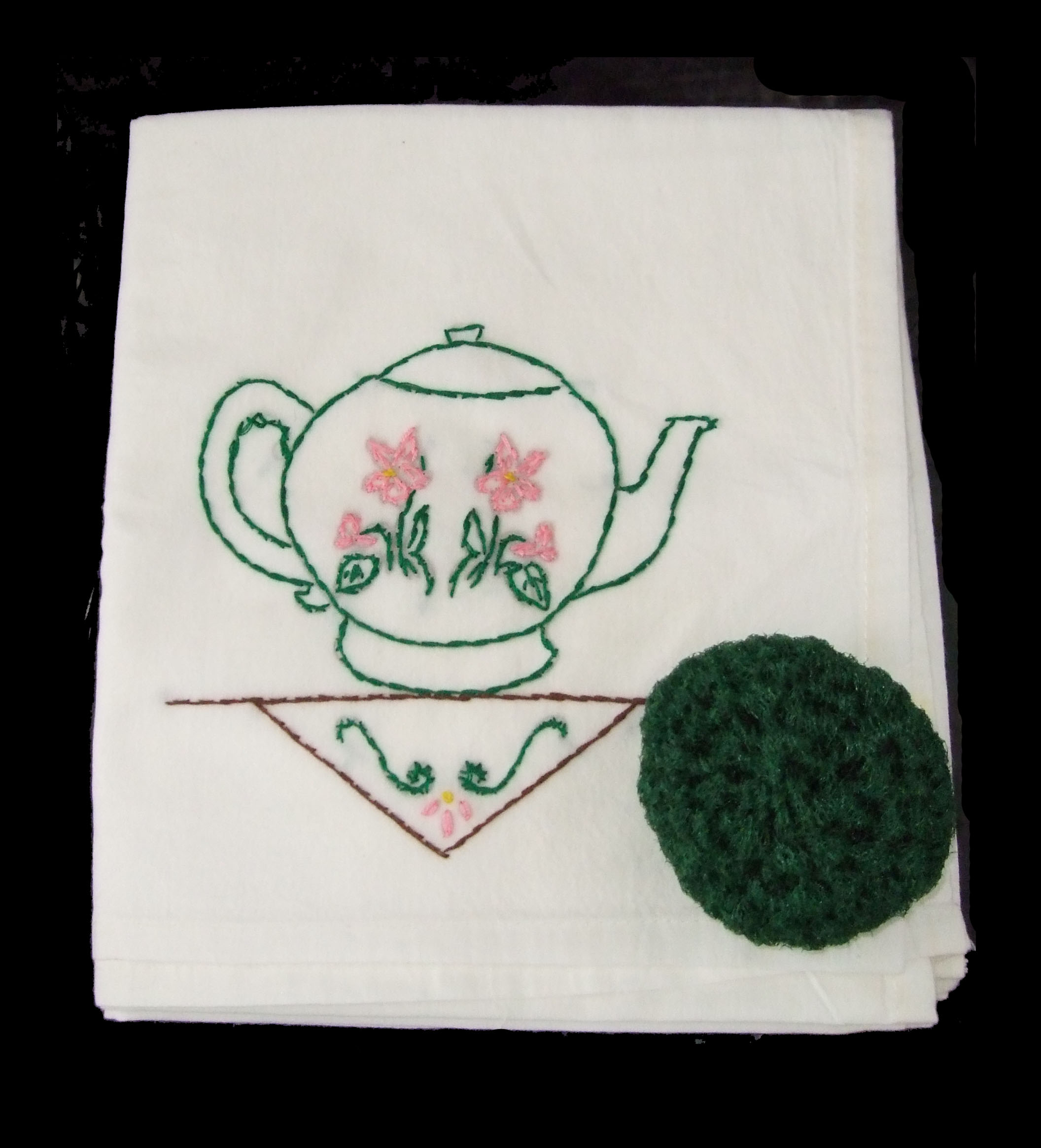flour sack towel, embroidered, gift, Christmas, country, pottery